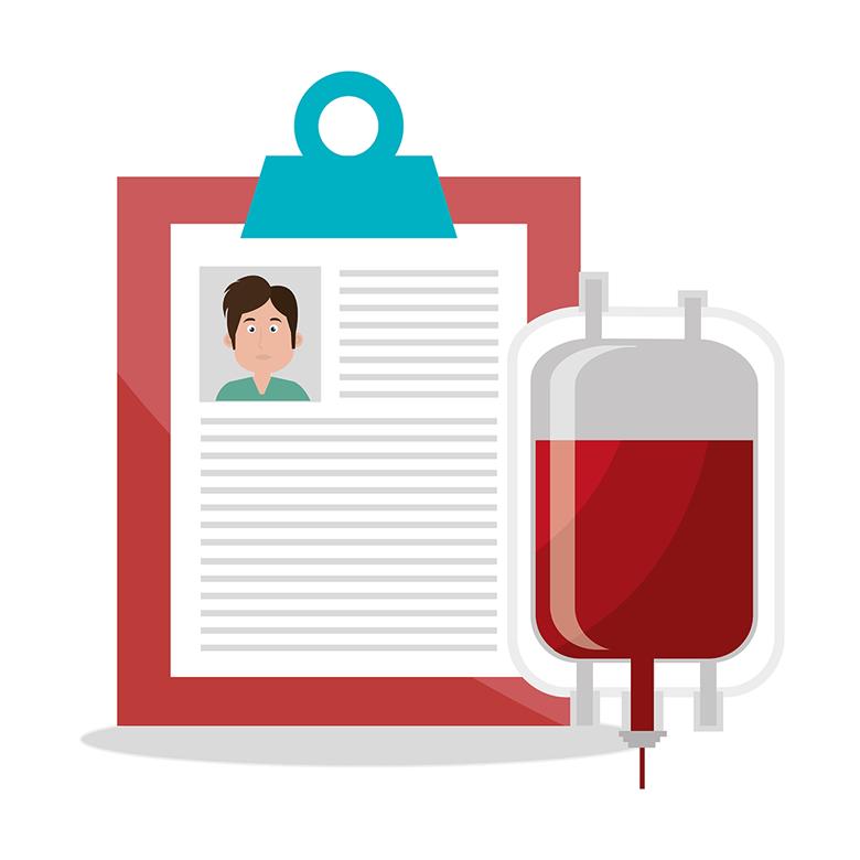 Příjmací karta pro darování krve - ilustrace